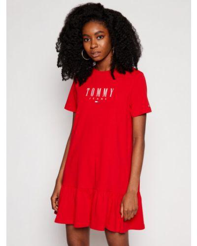 Czerwona sukienka jeansowa na co dzień Tommy Jeans