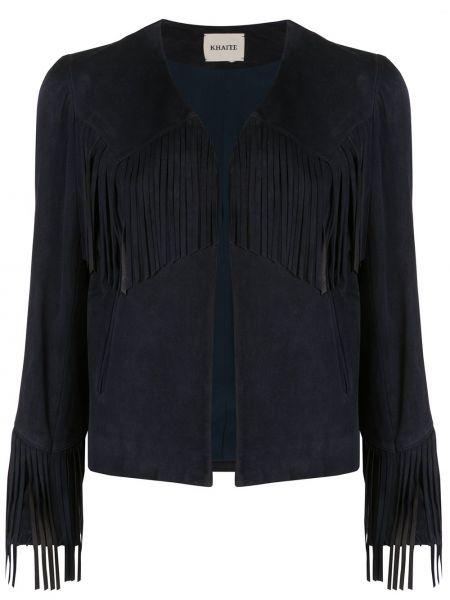 Синий пиджак с карманами с бахромой Khaite