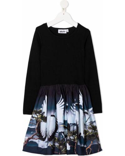 Расклешенное черное платье с рукавами круглое с круглым вырезом Molo