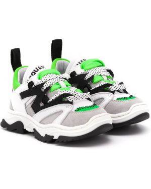 Skórzane sneakersy z logo białe Dsquared2 Kids