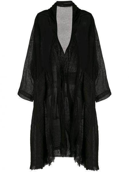 Черное длинное пальто оверсайз прозрачное Masnada