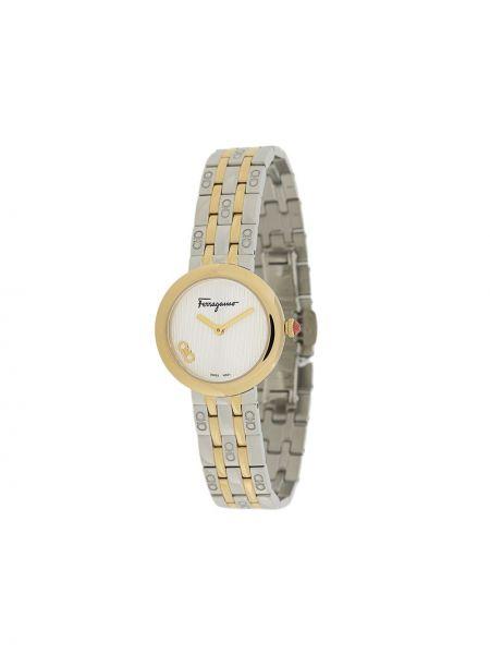 Золотистые кварцевые часы золотые круглые Salvatore Ferragamo Watches