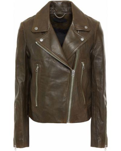 Зеленая кожаная куртка байкерская Rag & Bone