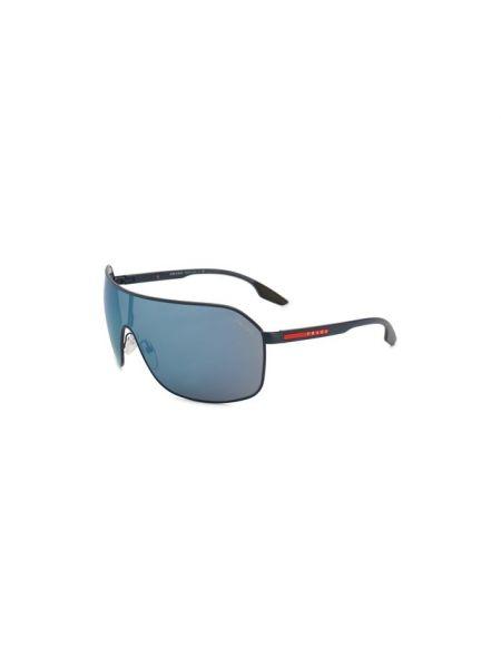 Муслиновые синие солнцезащитные очки узкого кроя Prada Linea Rossa