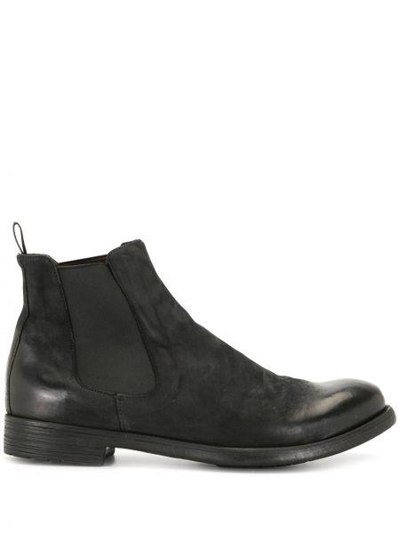 Skórzany czarny buty obcasy okrągły na pięcie Officine Creative