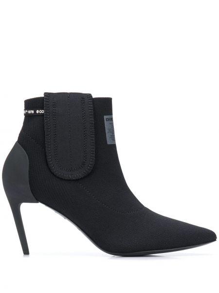 Кожаные черные носки на каблуке Diesel