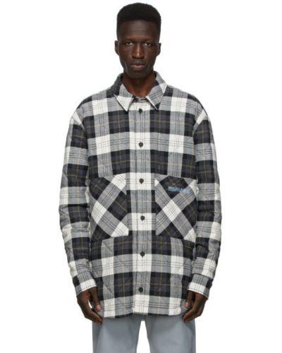 Czarna długa kurtka pikowana bawełniana Marcelo Burlon County Of Milan