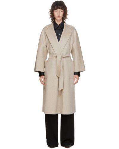Открытое бежевое длинное пальто с поясом с воротником Max Mara