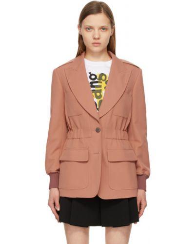 Розовый удлиненный пиджак для полных с накладными карманами Chloé