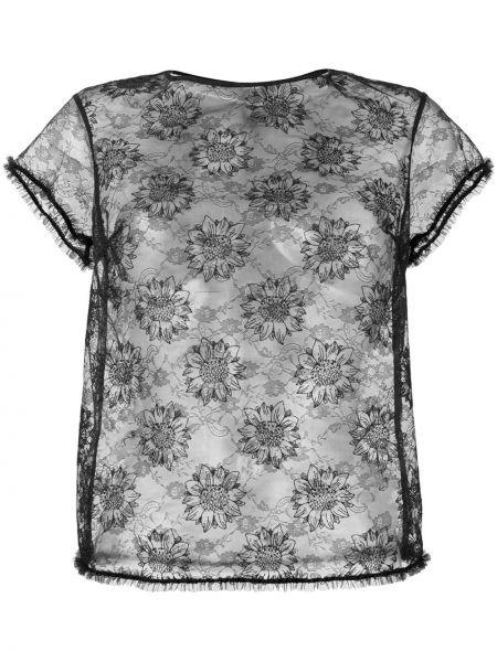 Черная футболка с круглым вырезом прозрачная круглая Myla