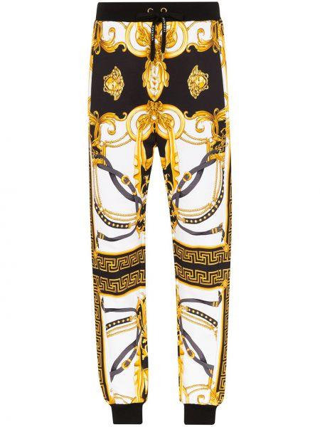 Sportowe spodnie z wysokim stanem z kieszeniami Versace