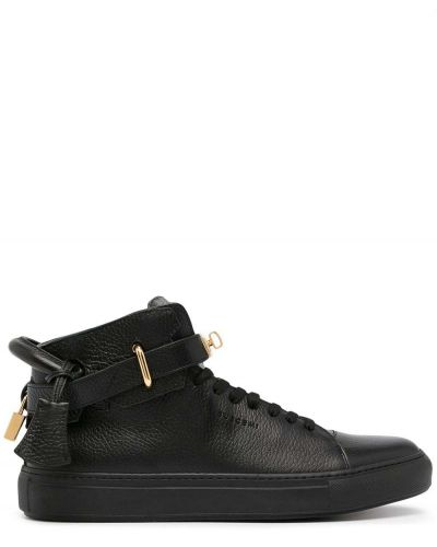 Czarne sneakersy skorzane na obcasie Buscemi