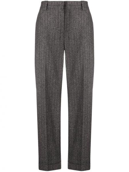 Прямые шелковые серые прямые брюки на крючках Pt01