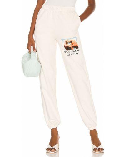 Białe spodnie dresowe bawełniane z printem Boys Lie