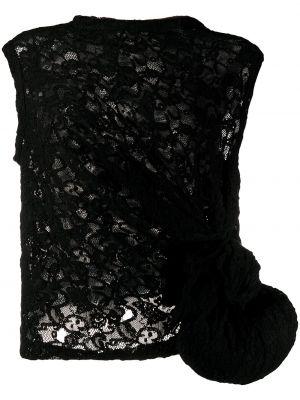 Czarny top koronkowy bez rękawów Comme Des Garcons
