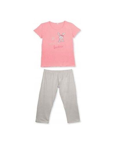 Różowa piżama bawełniana krótki rękaw Atlantic