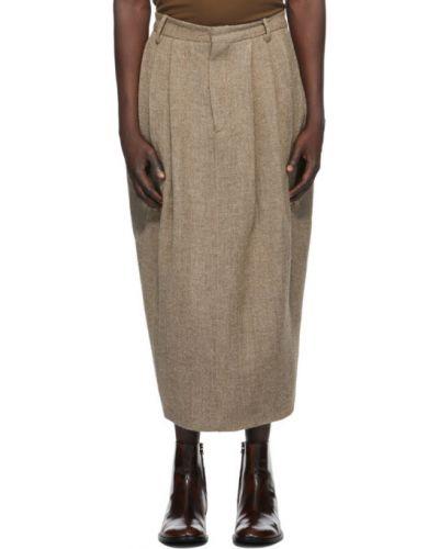 Wełniany brązowy pofałdowany spódnica plisowana z paskiem Hed Mayner