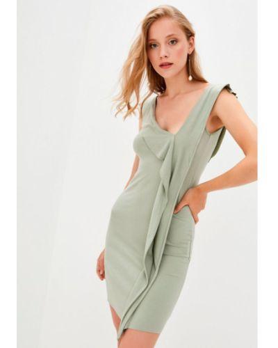 Облегающее трикотажное зеленое платье Прованс