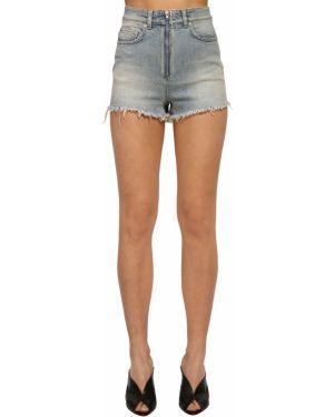Синие кожаные джинсовые шорты с карманами Givenchy