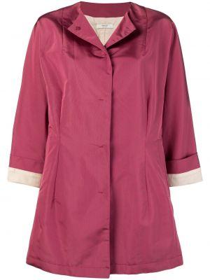 Розовое укороченное пальто с воротником на пуговицах с капюшоном Prada Pre-owned