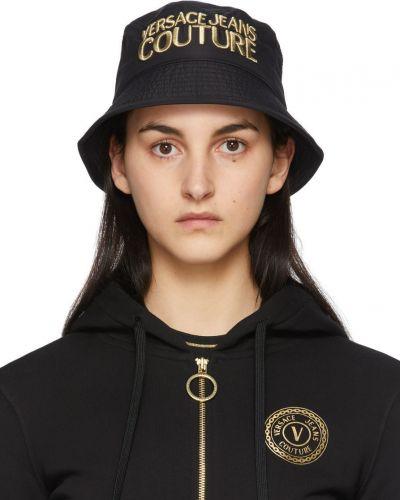 Złoty czarny kapelusz z haftem Versace Jeans Couture