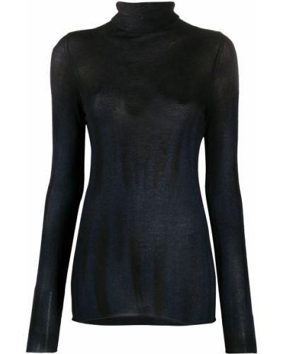 С рукавами шелковый синий джемпер с воротником Avant Toi