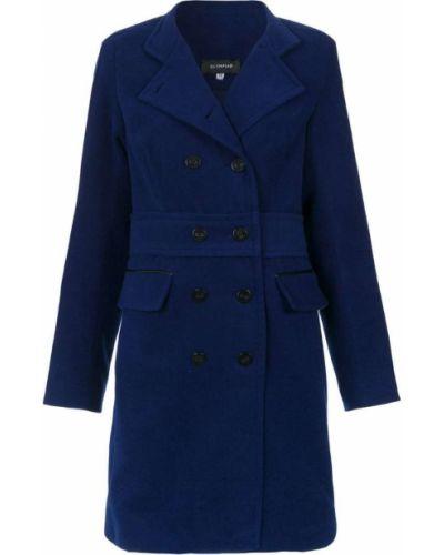 Приталенное синее длинное пальто Olympiah