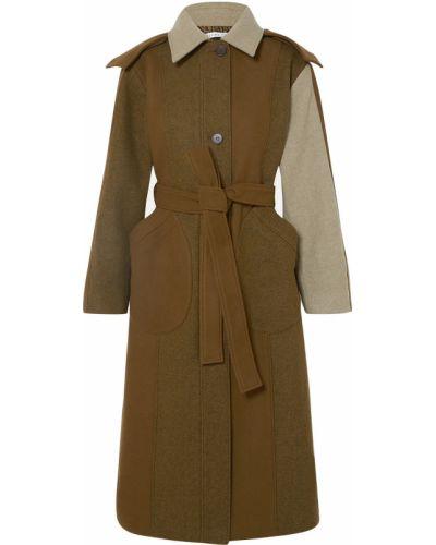 Зеленое шерстяное пальто с капюшоном Rejina Pyo