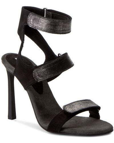 Sandały skórzany czarny Carinii