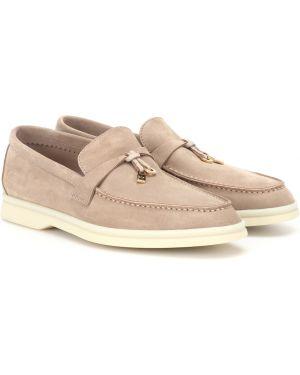Бежевые кожаные туфли из натуральной кожи Loro Piana
