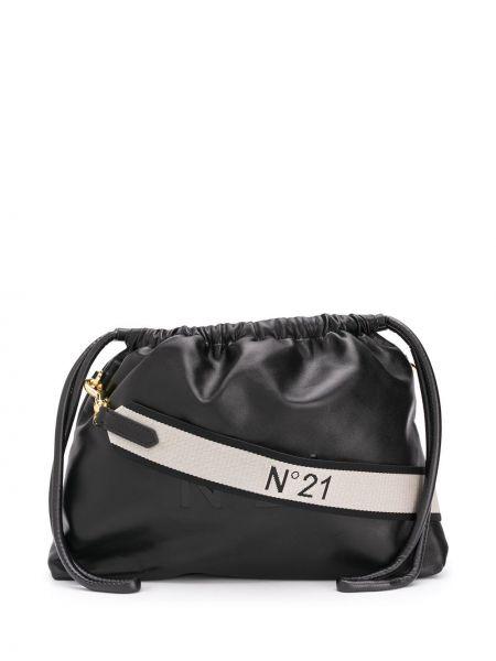 Ze sznurkiem do ściągania z paskiem czarny torba crossbody wytłoczony N°21