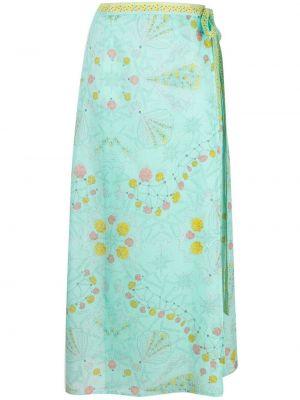 Zielona spódnica midi z wysokim stanem bawełniana Emilio Pucci