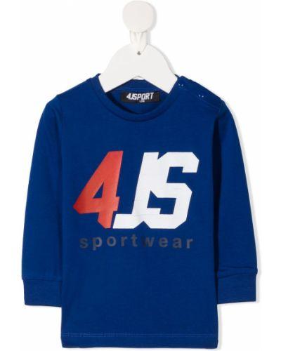 Прямой синий топ в рубчик с круглым вырезом Cesare Paciotti 4us Kids