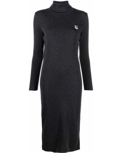 Шерстяное платье миди - серое Maison Kitsuné