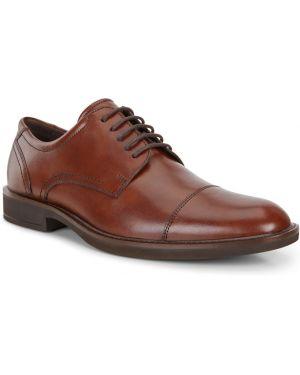 Текстильные коричневые классические туфли на шнурках Ecco