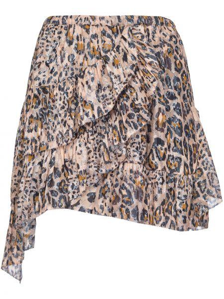 Brązowy asymetryczny spódnica midi z wiskozy Pinko