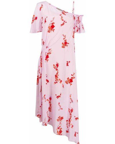 Асимметричное розовое платье макси Preen Line