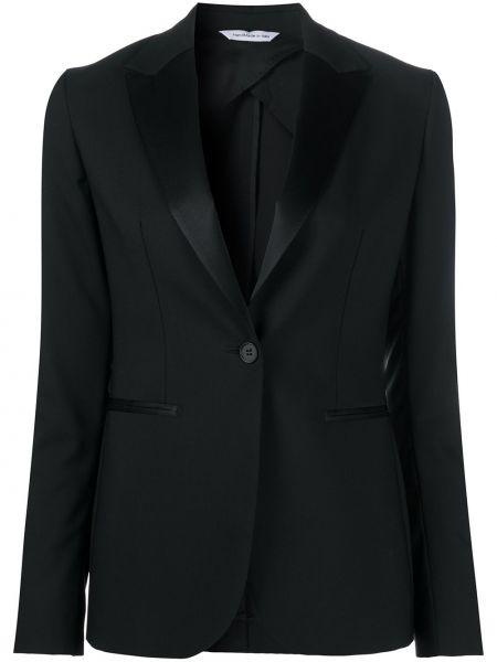 Приталенный однобортный черный классический пиджак с карманами Tonello