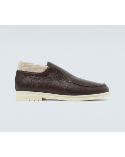 Коричневые открытые кожаные ботинки с декоративной отделкой с подкладкой Loro Piana