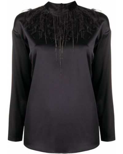 Шелковая с рукавами черная блузка Fabiana Filippi