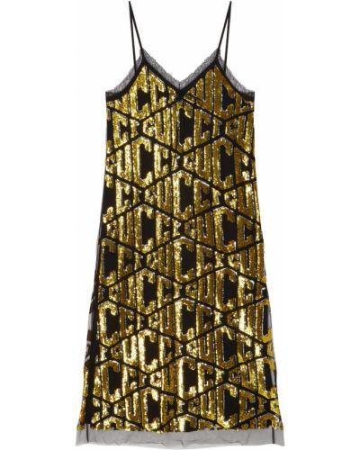Платье миди с пайетками с декольте Gucci