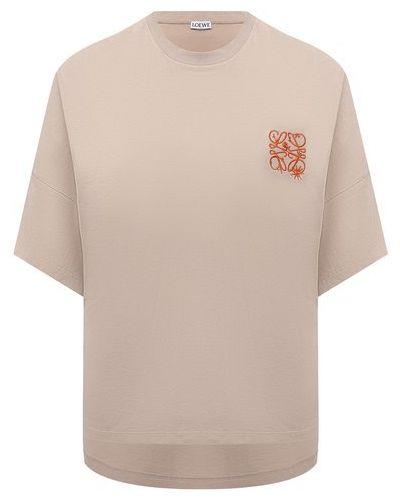 Хлопковая футболка - бежевая Loewe