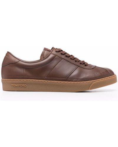Brązowe sneakersy koronkowe Tom Ford