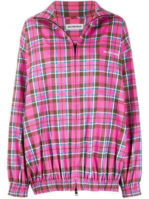 Розовая куртка в клетку с поясом Balenciaga