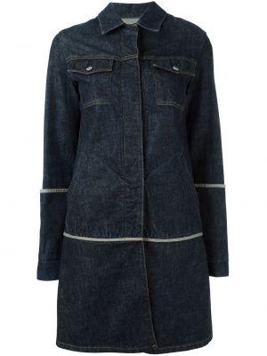 Синее длинное пальто с капюшоном с воротником Helmut Lang Pre-owned