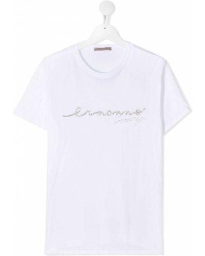 Белая хлопковая футболка с круглым вырезом круглая Ermanno Scervino Junior