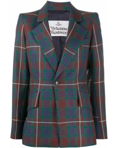 Шерстяной синий удлиненный пиджак с карманами Vivienne Westwood