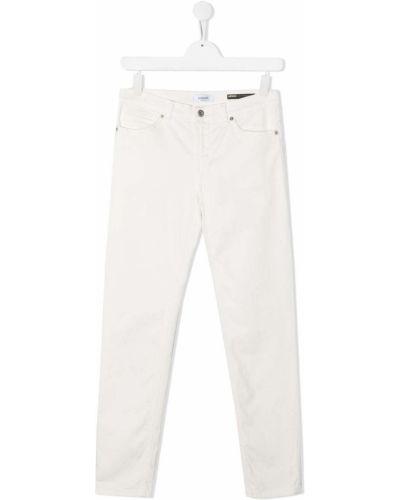 Хлопковые прямые белые прямые джинсы с поясом Dondup Kids