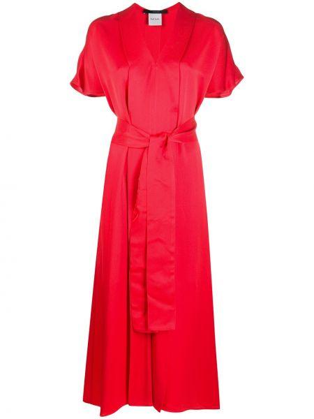 Красное прямое платье миди с V-образным вырезом с короткими рукавами Paul Smith
