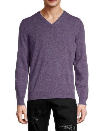 Сиреневый кашемировый длинный свитер с V-образным вырезом Brunello Cucinelli